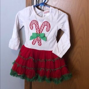 Candy cane Christmas dress with polka dot pants.